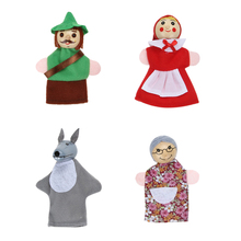 4pcs/Lot Kids Toys Finger Puppets Doll Plush Toys Little Red Riding Hood Wooden Headed Fairy Tale Story Telling Hand Puppets(China)