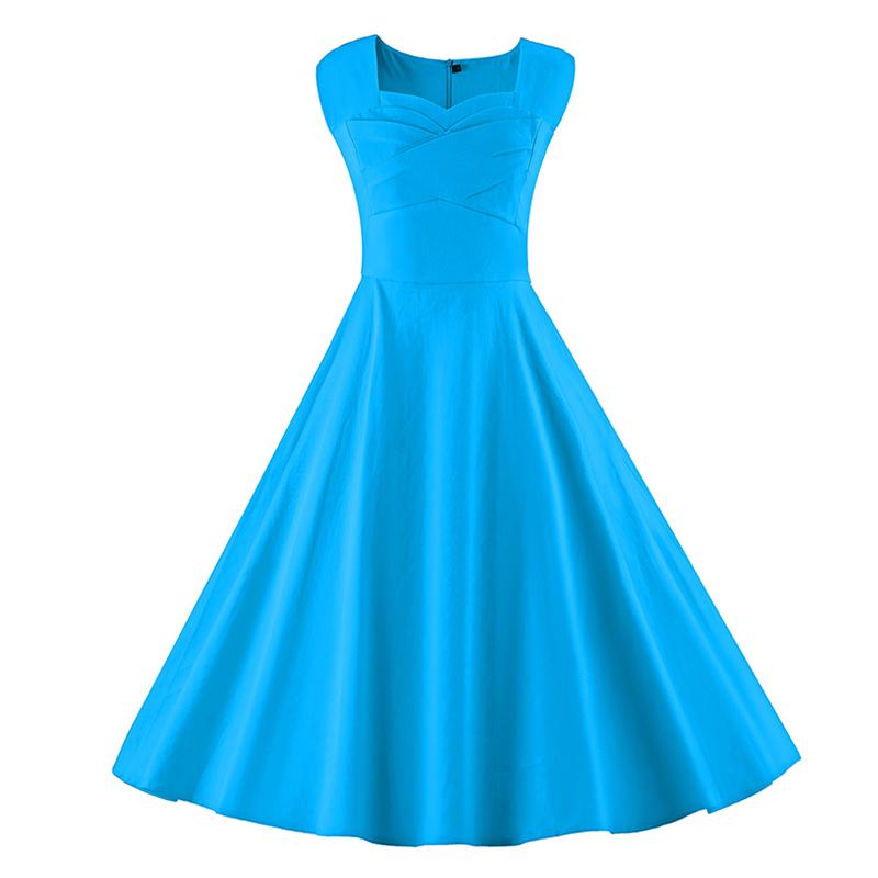 Kostlich 6 Color Retro Summer Dress Women 2017 Sleeveless Hepburn 50s Vintage Dress Elegant Big Swing Rockabilly Party Dresses (21)