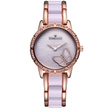 Luxury Brand Womens Quartz Watch Alloy Simulated Ceramic Strap Ladies Watch White