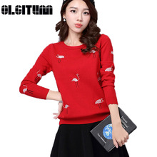 OLGITUM Hot sale 2017 Spring New Swan embroidery sweater ladies round neck sweater long sleeve knitted Sweater Pullover 6 colors