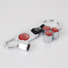 Sliver Car styling  Basketball Logo Tire Valve  Cap With Key Ring Wrench Emblem For Basket Ball 8pcs = 2 set