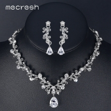 Mecresh Luxury Cubic Zirconia Bridal Jewelry Sets Leaf-Shape Crystal Rhinestone Party Wedding Jewelry Necklace Sets MTL486(China)