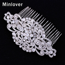 Mecresh Wedding Hair Accessories Crystal Bridal Hair Comb for Women Silver Color Hair Jewelry FS069