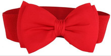 Free Shipping 2017 Hot Sale Womens Red Bow Elastic Stretch Belt For Ladies Female(China)