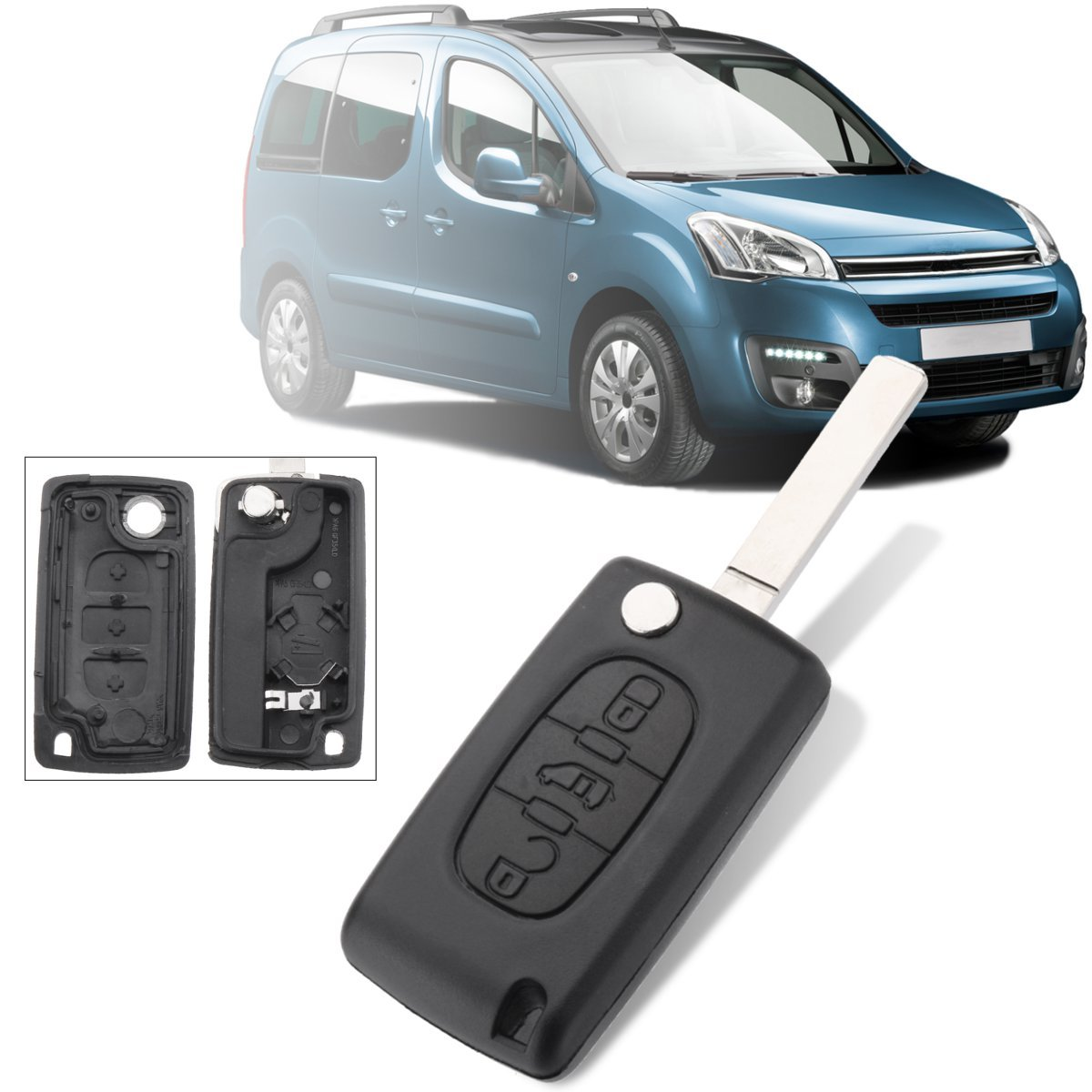 3 Button Remote Flip Key Fob Case Shell w/ Blade For Peugeot  For Citroen Berlingo(China)