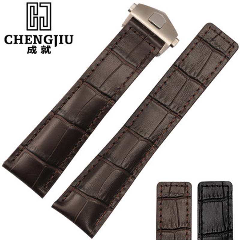Morocco Pioneer 19 20 22 mm Calfskin Leather Strap For Tag/ Heuer For Carrera Deployment Clasp Watch Band Strap Bracelet Watches<br>