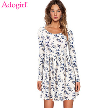 Buy Adogirl Women Autumn Spring Vintage Dress Long Sleeve Print Floral Dress Women Retro Vintage Elegant Tunic Vestidos Knit Dresses for $14.03 in AliExpress store