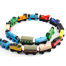 10Pcs/Lot Thomas Trains Car Toy Vehicles Wooden Complete Train Set Toy Baby Kids Magnetic Slot Train Toys(China)