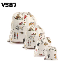 Storage Cotton Linen Cartoon Cat- Style Bags Drawstring Sack Tea Gift Bag Small Beam Rope Pouches Home Decor Handbags