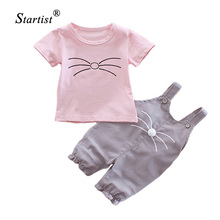 Startist Girls Clothes Set 2017 Summer Kids Clothes Sets Baby Girl Clothes Cartoon Shirts + Jumpsuit Children Clothing
