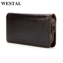 WESTAL Genuine Leather Men Wallets Double Zipper Man Wallet Men Purse Fashion Male Long Phone Wallet Man's Clutch Bags 9013