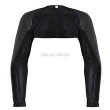 Men Breathable Mesh Sheer PU Leather  Fitness Arm Sleeves Shrug Top Sportwear