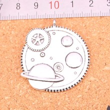 Wholesale 12Pcs Antique Silver Plated solar system galaxy Charms Diy Handmade Jewelry Findings Accessories 37mm(China)
