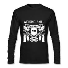 New Arrival Men's Shirts Long Sleeve Grandpa with Welding Skill High Quality Graphic Tee Tops Organic Cotton Mens T shirt