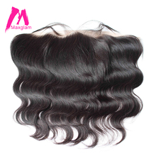 Maxglam 13x4 Body Wave Pre Plucked Lace Frontal Closure With Baby Hair Brazilian Remy Human Hair Free Shipping
