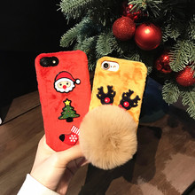 Winter Soft Wram Rabbit Fur Ball Phone Cases Christmas Santa Claus Elk Deer Shock Decor Case For iPhone 6 6s Plus 6plus 7 7Plus