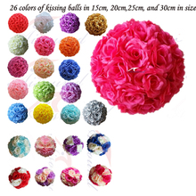 25cm/ 10 Inch Decorative Wedding Flower Ball Event & Party Supplies,Artificial  Silk Rose Kissing Ball For Wedding Centerpiece