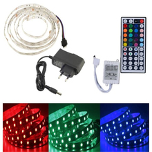 2M Waterproof Flexible Ribbon LED Strip Bulb Light 5050 SMD 120 Led RGB+Remote Controller Infrared 44 Key+Power DC12V 2A EU Plug