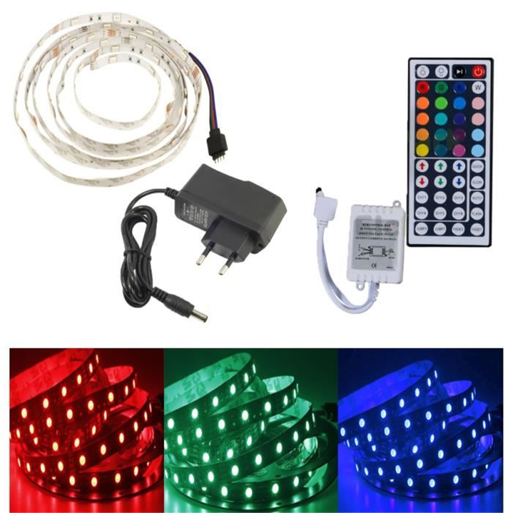 2M Waterproof Flexible Ribbon LED Strip Bulb Light 5050 SMD 120 Led RGB+Remote Controller Infrared 44 Key+Power DC12V 2A EU Plug(China (Mainland))