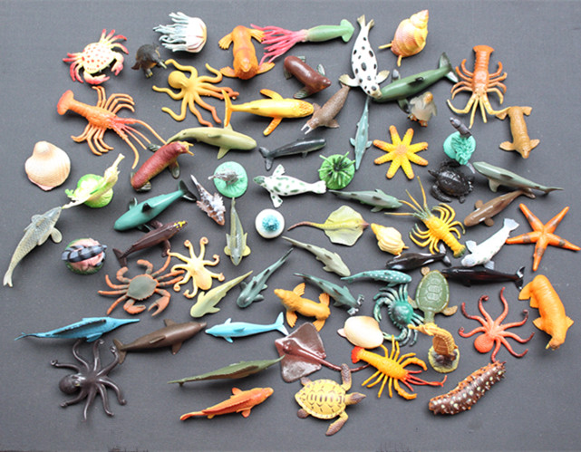 (65 pcs/set) Small Sea Animals Toy Figurine Mixed Lot Ocean Creatures Fish Marine Life Solid Model Children Gifts Free shipping<br>