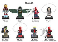 Single Sale Super Heroes Iron Man Vulture Game Spider Man Masked Robber Silk Building Blocks Bricks Children Gift Toys X0168