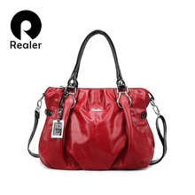 REALER brand handbag women casual tote bag ladies solid shoulder bag women artificial leather handbags for party