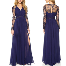 Limit buy Women Long Sleeve Stitching Lace Embroidery Chiffon Dress Hollow out Long Dre