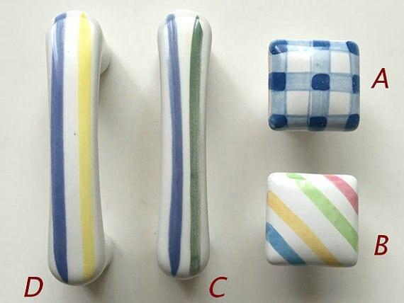3 Gingham Stripe Dresser Knob Drawer Knobs Handles Ceramic Colorful Cabinet Knobs Square White Blue Kids Decorative Pulls 76 mm<br><br>Aliexpress