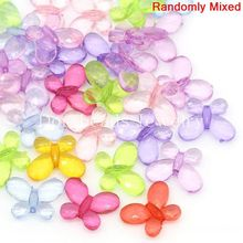 Doreen Box hot- Acrylic Spacer Beads Butterfly Mixed 13x17mm,Hole:Approx 1.2mm,200PCs (B28223)(China)
