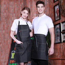 Denim apron kitchen cooking men and women restaurant coffee shop uniforms overall customized print logo(China)