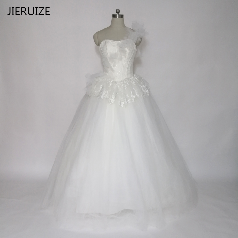JIERUIZE White Tulle Lace One Shoulder Cheap Wedding Dresses Ball Gown Lace Up Back Wedding Gowns vestidos de noiva trouwjurk