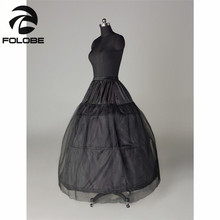 New Hot Sale In Stock Black Bridal Accessories Three Hoops One Layer A-Line Wedding Petticoat/Crinoline/Underskirt(China)