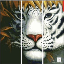 Factory Shop Free Shipping Cross Stitch Kit Yellow Big Tiger Animal High Quality 14CT 120X120cm