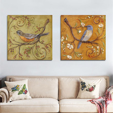 Bird Painting Wall Picture for Living Room Modern Wall Art Oil Painting Unframed Canvas Painting Poster Home Decoration 2 Pieces
