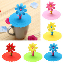 1 Pcs Sunflower Cup Lid Dustproof Reusable Silicone Drinkware Cup Lid DIY Insulation Cup Cover Pink/Blue/Red/Green/Yellow