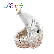 Hiphop Jewelry Punk Rock Ring Fashion Silver Color Geometric Animal Eagle Head Finger Rings for Women