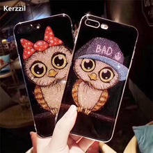 Fashion Bling Glitter Cartoon Birds Case For iphone 7 Case For iphone7 6 6S Plus Shining Soft Silicone Phone Cases Back Cover(China)