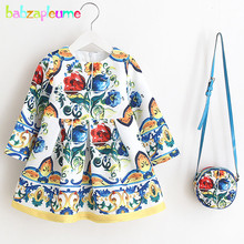 2Piece/2-6Years/Spring Autumn Korean Children Clothing Store Princess Dresses+Bags Baby Girls Dress Clothes Kids Costume BC1591(China)