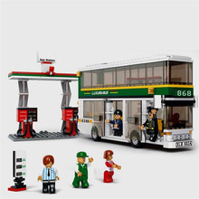 City Bus Gas Station Building Blocks Compatible with Legoelied Playmobil Educational Toys for Children with Box B0331