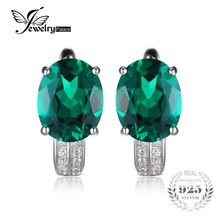JewelryPalace Solid 925 Sterling Silver 3.5ct Created Emerald Earrings Genuine Real Pure Vintage Charm Fine Jewelry for Women(China)