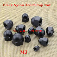 100pcs M3 Black Nylon Hex Acorn Nuts DIN1587 Plastic Hexagon Domed Cap Nut
