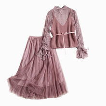 20178 New Spring Ladies Suit Lace Mesh Tops and Mesh Skirt Two Piece Set High End Fashion Elegant Women's Set 1021(China)