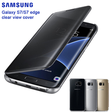 SAMSUNG Original Mirror Clear View Smart Cover Phone Case EF-ZG930 For Samsung Galaxy S7 G9300 S7 edge G9350 Rouse Slim Flip(China)