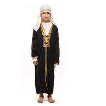 Black White Kids Boys Arab Costume Prince Cosplay Robe Clothes Halloween Carnival Fancy Dress Party Performance Costumes