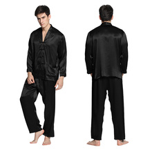 Lilysilk 100% Silk Men Pajamas Sleepwear Suit Home 22 Momme Long Sleeve V Neck Elastic Waist Chinese Button Pyjamas Male Sexy