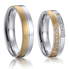 bicolor gold and silver color couple wedding rings for women and men western europe style titanium lovers jewelry(China)
