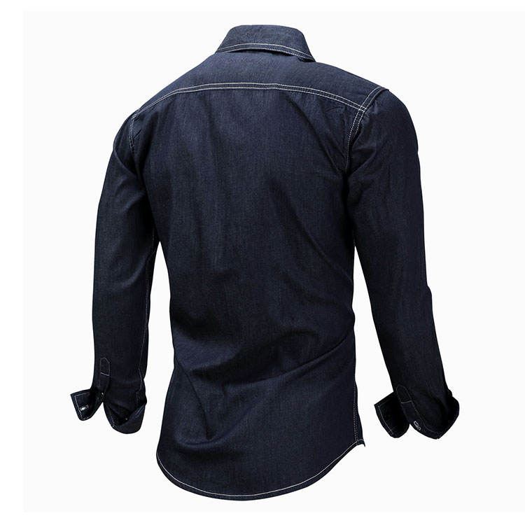 Aolamegs Denim Shirts Men Long Sleeved With Chest Pockets Jean Shirt Solid Color Fashion Casual Cotton Shirts Plus Size M-XXXL (5)