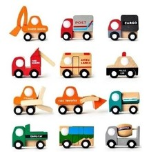 Children's toys, mini model cars exported to Japan city construction toy blocks car wooden trolley car 12pcs/set