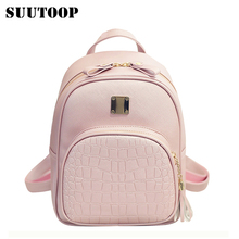Women backpacks fashion PU leather shoulder bag crocodile pattern small backpack embossed School Bags for girl