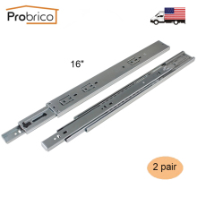 "Probrico 2 Pair 16"" Soft Close Ball Bearing Drawer Rail Heavy Duty Rear/Side Mount Kitchen Furniture Drawer Slide DSHH32-16A(China)"